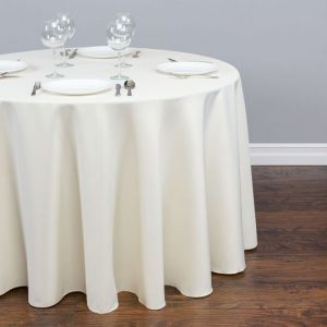 Ivory Round Polyester Tablecloth 120